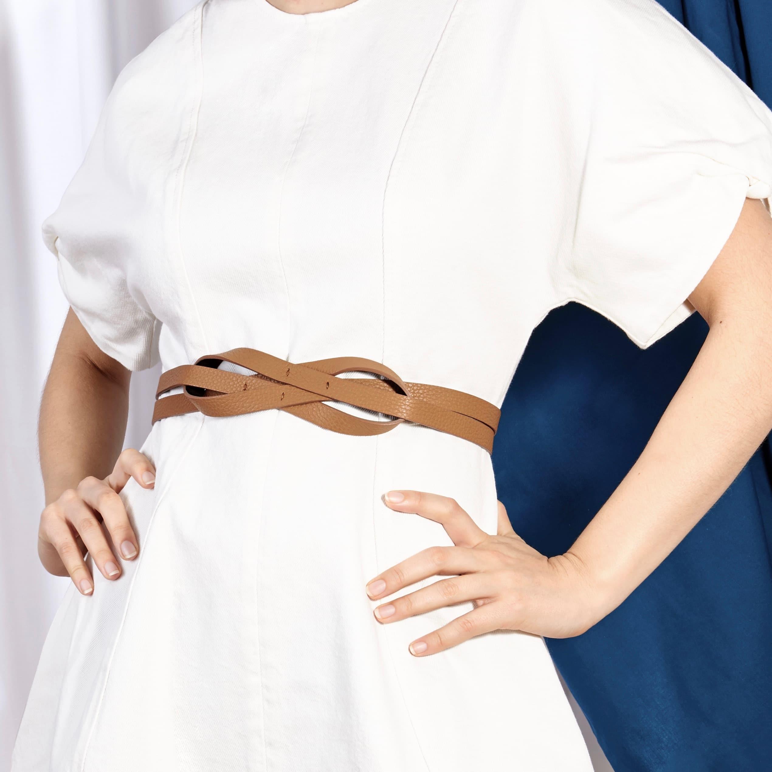 Entoure ceinture double noeud marron glacé